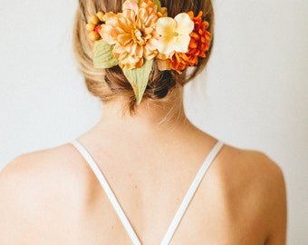 Apricot + Tangerine Summer + Fall Flower Crown