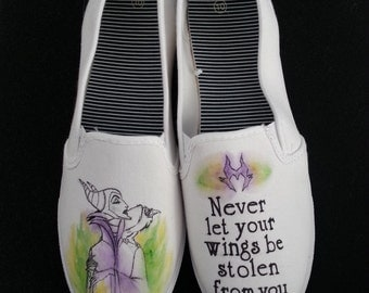 Disney's Sleeping Beauty Maleficent inspired hand painted shoes!