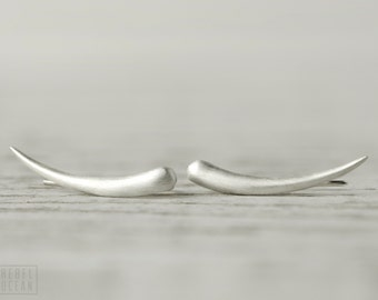 Sterling Silver Ear Cuff Moon Shine Ear Sweep Pin Earrings Boho Jewelry - FES007 T2
