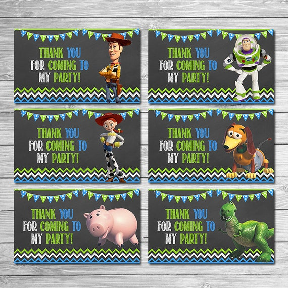 toy story party tags chalkboard green blue toy story