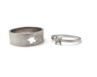 Twin Star Alliance - or blanc 18 carats et diamant - bijou fait à la main par Geraldine Valluet