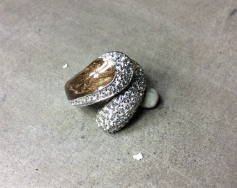 Copper Enamel and Cubic Zirconia Swirl Wraparound Sterling Silver Ring Size 9