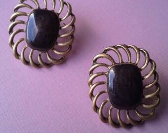 Chunky modern brown enamel stud earrings- 80's/90's- oversized earrings-gold tone