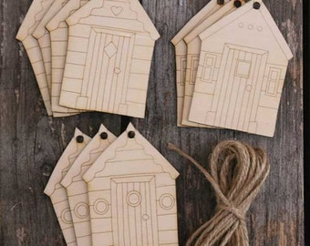 10 x Wooden Mixed Beach Hut Craft Shapes with Detail
