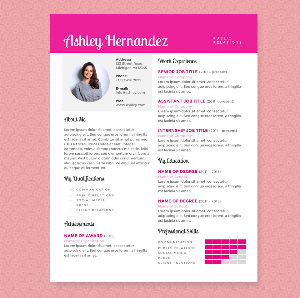 Bright Pink Resume Cover Letter Template Clean Template