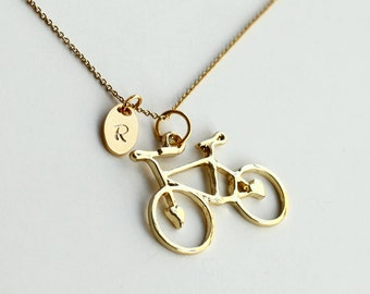 vintage bicycle necklace, bike necklace, personalized gold initial necklace, stamping initial, bridesmaid gifts, hand stamp jewelry