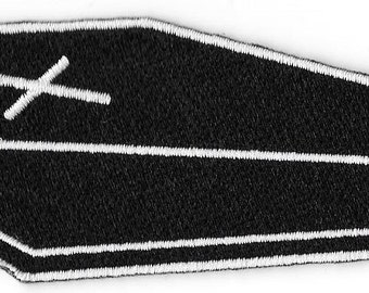 Coffin Casket Goth Embroidered Patch Iron On Applique Badge