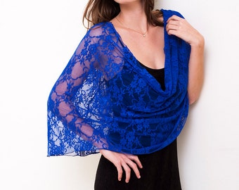 Evening Dress Cover Up, Royal Blue Bolero Loop Shrug With 4 Wearing Options- Shawl, Shrug, Crisscross And Infinity Scarf (CL300)