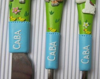 Children's Cutlery,Farm Animal,Personalized,Cutlery for Children,Gift for Birthday. Gift for Boy,Gift for Girl,Blue,White,Kids,New Born Baby
