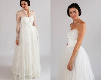 1950s Strapless Wedding Gown / Vintage Princess Style Dress