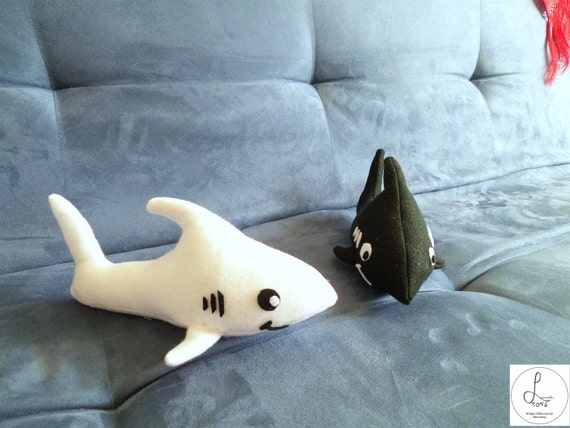 Plush shark small size black or white felt plushie for Life size shark plush