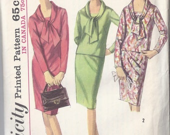 Simplicity  5642 Misses One-Piece and Two-Piece Dress from 1964, Slim Skirt, Tie Collar Bust 32