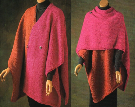 Knit Ruana Pattern Free : Color Block Ruana Cape Poncho Knitting Pattern Womens Poncho