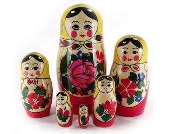 Nesting Doll Russian traditional Semyonovskaya matryoshka handmade