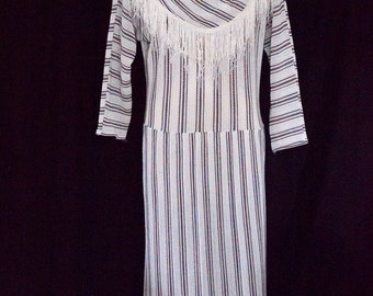 1980s long sleeve striped dress from Avon Fashions SIZE 11-12