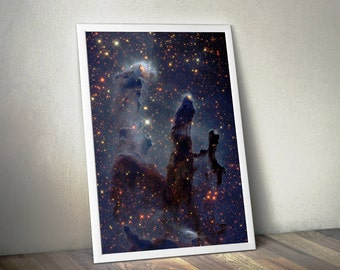 Outer Space Art, Astronomy Space Poster - Hubble Pillars of Creation - Galaxy Poster, Galaxy Print, Nebula