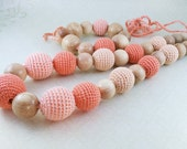 """Nursing Necklace and bracelet """"Peach"""", Teether for babies with juniper beads"""