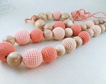 "Nursing Necklace and bracelet ""Peach"", Teether for babies with juniper beads"