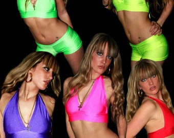 Funki-B Tartiz halter neck top and shorts hotpants neon clubwear rave clothing UV PLUR Cheap lots of colours cyber