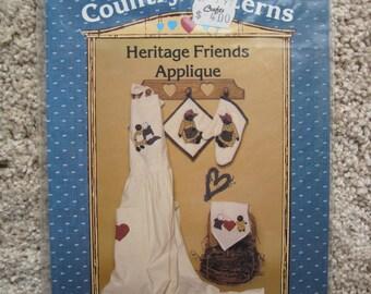 UNCUT Heritage Friends Applique, Transfers - Country Patterns - Vintage 1986