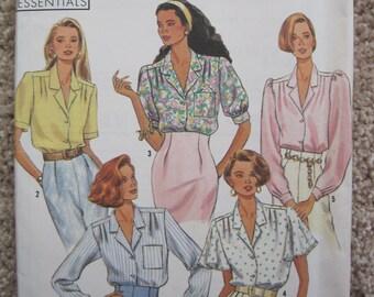 UNCUT Misses' Blouses - Size 10 to 18 - Simplicity Sewing Pattern 9857 - Vintage 1990