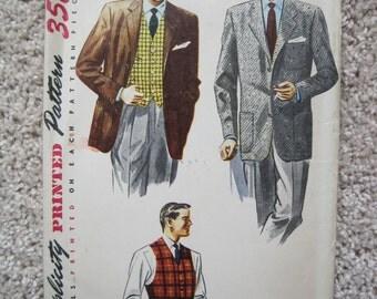 Men's Jacket and Vest - Simplicity 4107 - Vintage 1950's