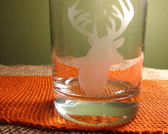 Etched Deer Double Old Fashioned Glass
