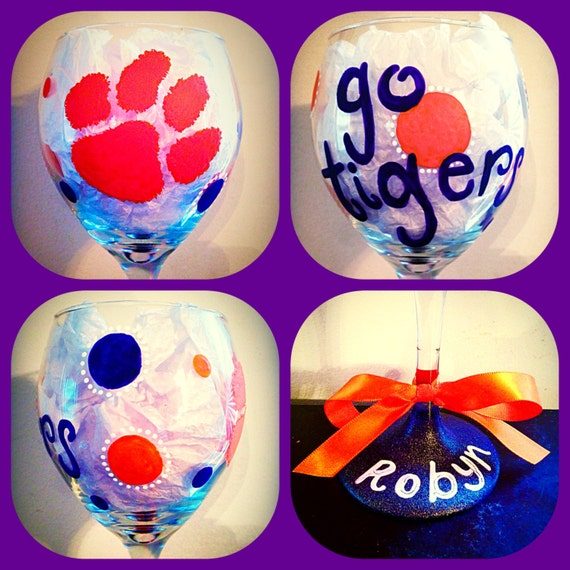 Hand Painted Clemson Wine Glasses