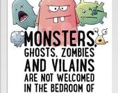 Poster Monsters Zombies Spell A4 - Printable - wall decor for children