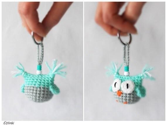 Mint Amigurumi Crochet Owl Keychain Keyring Amigurumi by ...