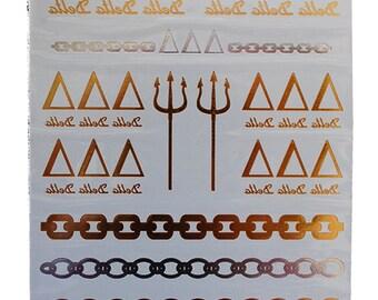 Tri Delta Jewelry Tattoos, Temporary Tattoos, Gold Metallic Tattoos