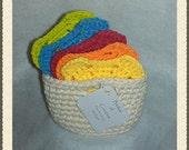 Coaster Basket Set - Bright Colors - Set of 5 with Basket