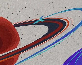 Adventure in Space Retro Poster