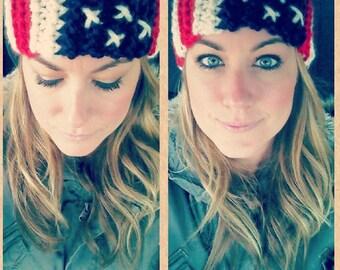 Chunky Knit Head Warmer American Flag // Ear Warmer // Headband //Turban (handmade)