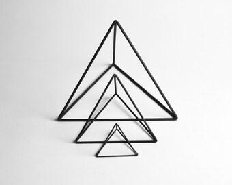 Tetrahedron Frames - Set of 3 - Handmade Geometric Steel Wire Frame – PrimeFrame Metal Sculpture - Crosstree Seed Products