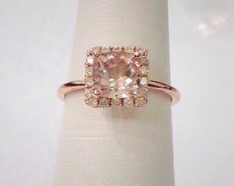 Morganite Rose Gold Ring - Square Cushion Cut with Diamond Halo