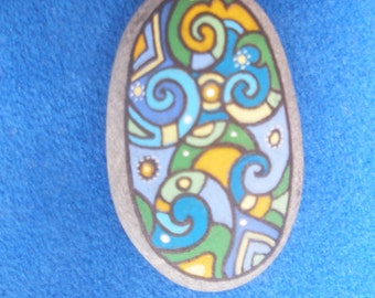 Painted stone with magnet- The guardian of home