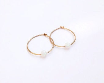 White opal opal earrings, opal earrings, white opal, hoop earrings with opal bead, gold filled earrings - 011  ,op, Etsy
