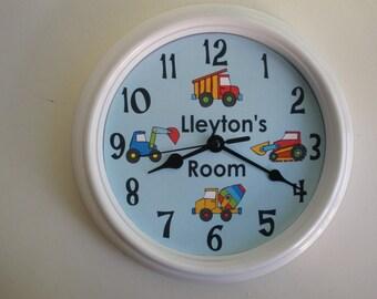 Trucks, Trucks, Trucks Personalized Nursery Wall Clock