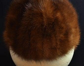Mahogany Mink Pillbox Hat
