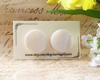 Flat White Stud Earrings - Large Round Post Earrings