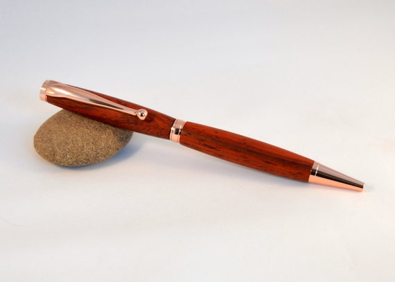 Wood Ballpoint Pen with Bloodwood and Copper Plating - Handcrafted by Whidden's Woodshop