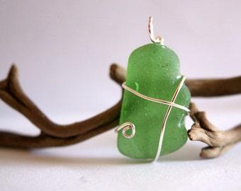 Light Teal - Green Sea Glass Pendant