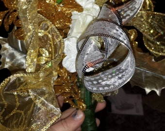 Christmas Tree Topper - Double Sided Tree Top Bow and Additional Tree Top Gold and Silver Handmade