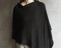 Merino Wool Knitted Poncho Shrug, Cardigan, Cape, Hand-Framed, Hand-Made, Charcoal Grey