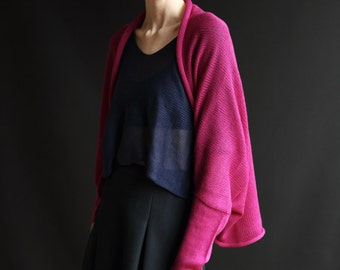 Merino Wool Open Sweater, Knitted Cardigan, Hand-Crafted Shrug, Long Sleeved Wrap, Shocking Pink, Fuchsia