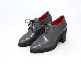 High Heel Grey Patent Leather Oxford Women's Shoes. FREE SHIPPING to the U.S. and Canada.