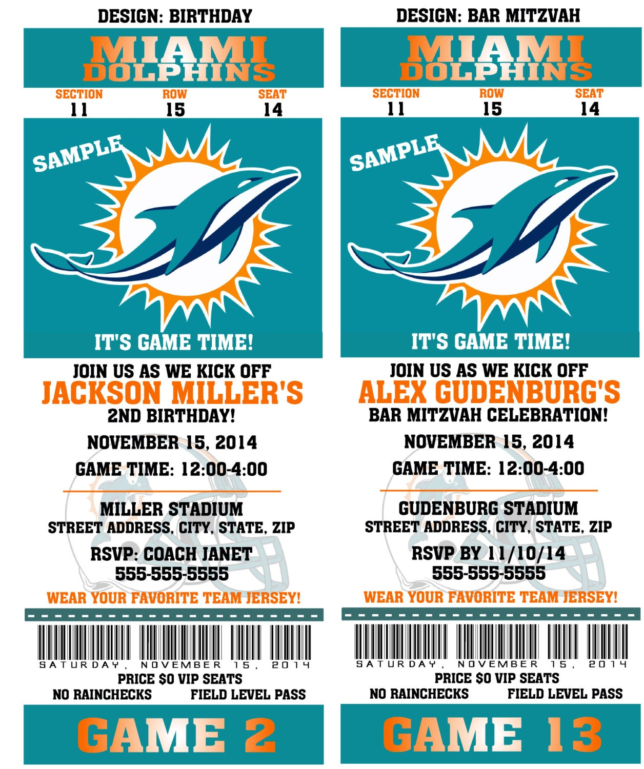 Printable Birthday Party Invitation Card Miami Dolphins – Printable Birthday Party Invitation Cards