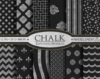 Chalk Digital Paper: Printable Blackboard Digital Paper with Chalkboard Art -  Chalk Scrapbook Paper with Chalk Board Art