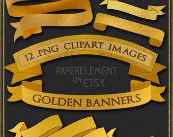 Digital Ribbon Banner Clipart: Gold Ribbon Banner Clip Art, Gold Banner Clip Art, Digital Banner Graphics, Ribbon Banner Digital Download